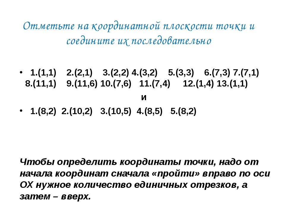 Отметьте на координатной плоскости точки и соедините их последовательно 1.(1,...