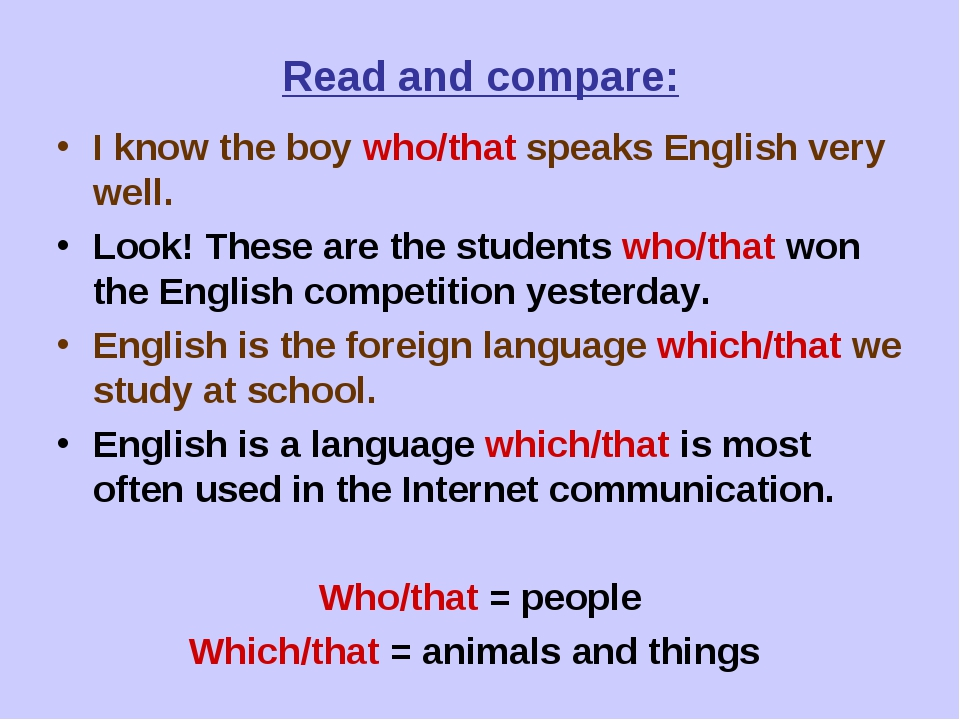 Read and compare: I know the boy who/that speaks English very well. Look! The...
