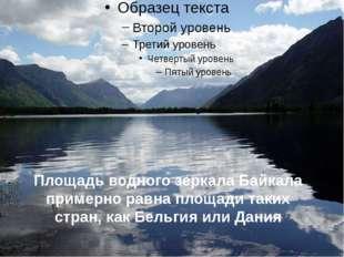 Площадь водного зеркала Байкала примерно равна площади таких стран, как Бельг