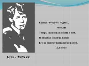 Есенин - гордость Родины, святыня Теперь уже нельзя забыть о нем. И ника