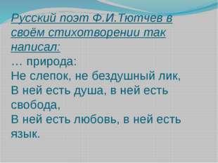 Русский поэт Ф.И.Тютчев в своём стихотворении так написал: … природа: Не слеп