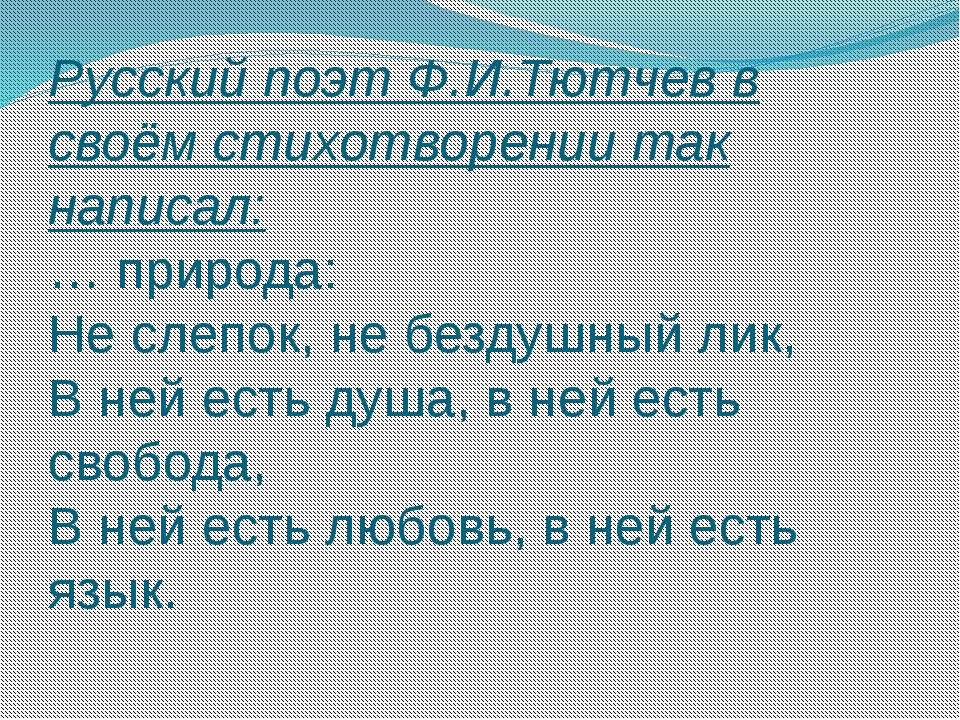 Русский поэт Ф.И.Тютчев в своём стихотворении так написал: … природа: Не слеп...