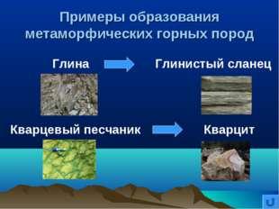 Примеры образования метаморфических горных пород Глина Глинистый сланец Кварц