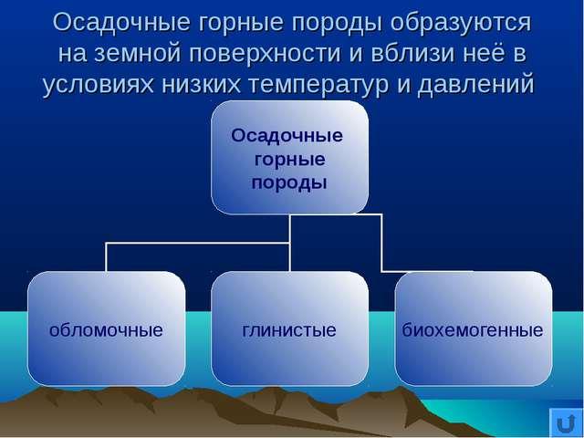 Осадочные горные породы образуются на земной поверхности и вблизи неё в услов...