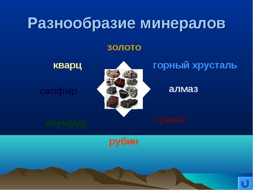 Разнообразие минералов золото горный хрусталь алмаз гранат рубин изумруд сапф...