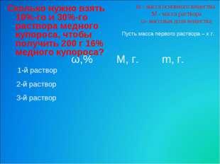m - масса основного вещества M - масса раствора ω- массовая доля вещества Ско