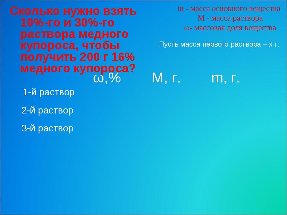 m - масса основного вещества M - масса раствора ω- массовая доля вещества Ско...