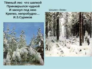Шишкин «Зима» Тёмный лес что шапкой Принакрылся чудной И заснул под нею Крепк