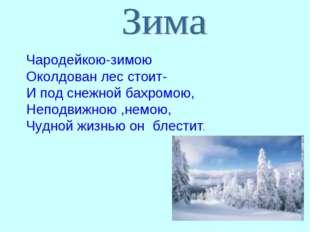Чародейкою-зимою Околдован лес стоит- И под снежной бахромою, Неподвижною ,не
