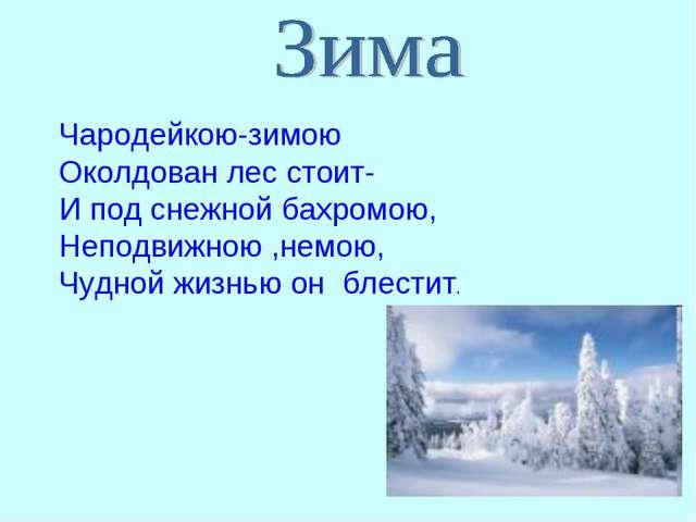 Чародейкою-зимою Околдован лес стоит- И под снежной бахромою, Неподвижною ,не...