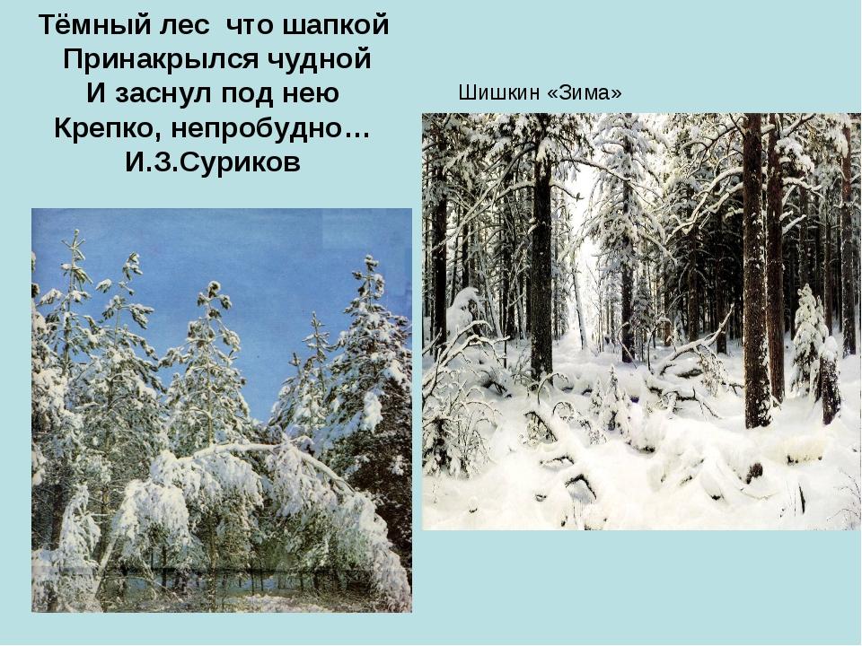 Шишкин «Зима» Тёмный лес что шапкой Принакрылся чудной И заснул под нею Крепк...