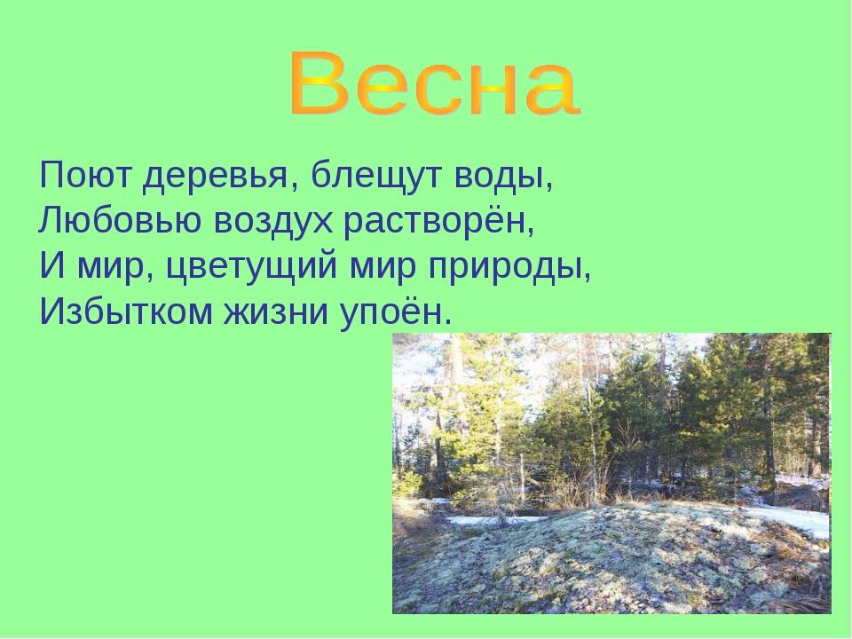 Поют деревья, блещут воды, Любовью воздух растворён, И мир, цветущий мир прир...