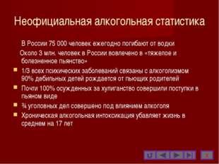 Неофициальная алкогольная статистика В России 75 000 человек ежегодно погиба