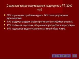 Социологическое исследование подростков в РТ (2000 год) 62% опрошенных пробов