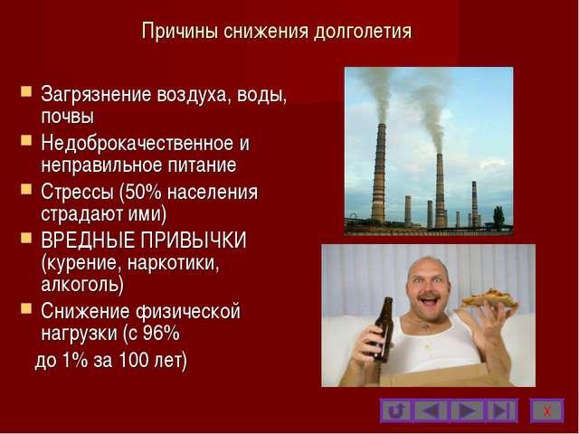 Причины снижения долголетия Загрязнение воздуха, воды, почвы Недоброкачествен...