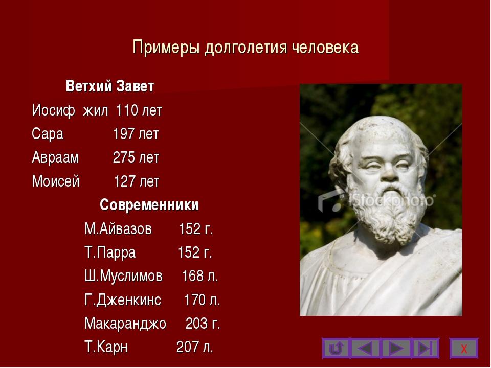 Примеры долголетия человека Ветхий Завет Иосиф жил 110 лет Сара 197 лет Авраа...