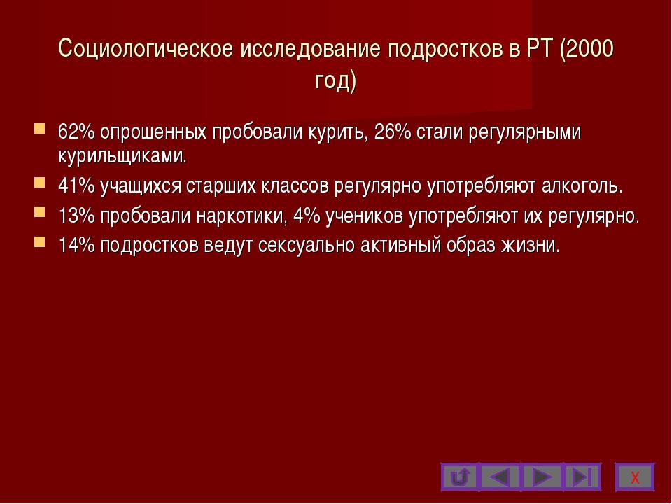 Социологическое исследование подростков в РТ (2000 год) 62% опрошенных пробов...