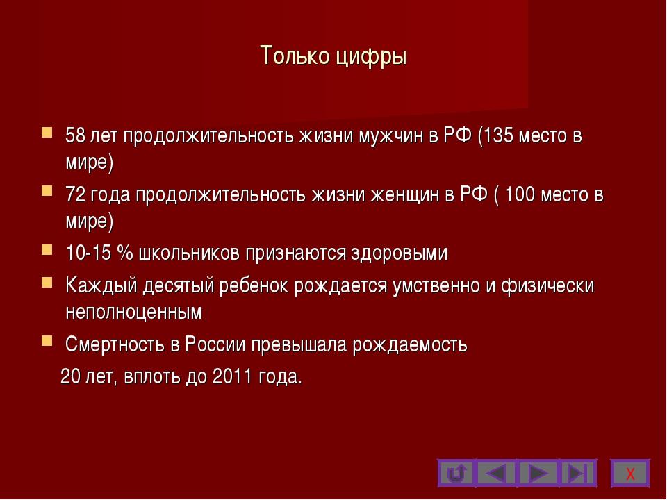 Только цифры 58 лет продолжительность жизни мужчин в РФ (135 место в мире) 72...