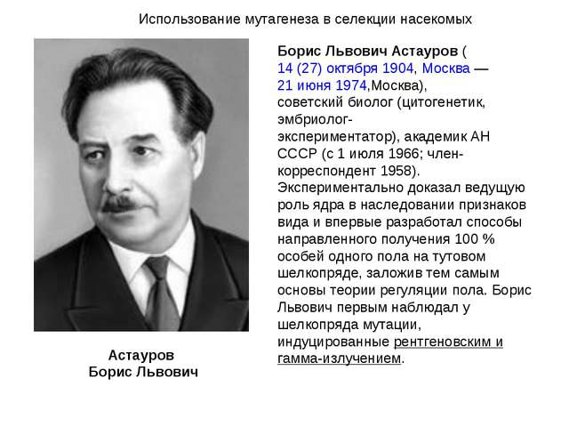 Борис Львович Астауров(14 (27) октября1904,Москва—21 июня1974,Москва),...