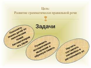 Задачи Цель: Развитие грамматически правильной речи Пополнять знания детей по