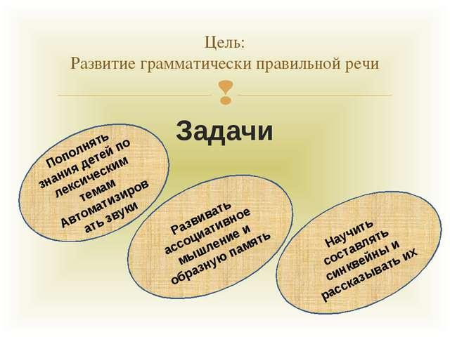Задачи Цель: Развитие грамматически правильной речи Пополнять знания детей по...
