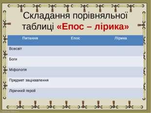 Складання порівняльної таблиці «Епос – лірика» Питання Епос Лірика Всесвіт Бо