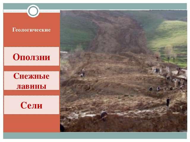 Геологические Оползни Снежные лавины Сели