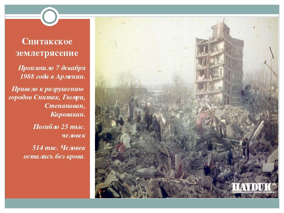 Спитакское землетрясение Произошло 7 декабря 1988 года в Армении. Привело к р...