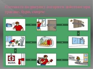 Составьте по рисунку алгоритм действия при урагане, бури, смерче