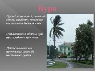 Буря Буря- длительный, сильный ветер, скорость которого составляет более 6 км