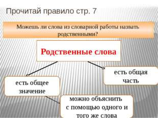 Прочитай правило стр. 7 Можешь дать ответ на мой вопрос? Родственные слова ес
