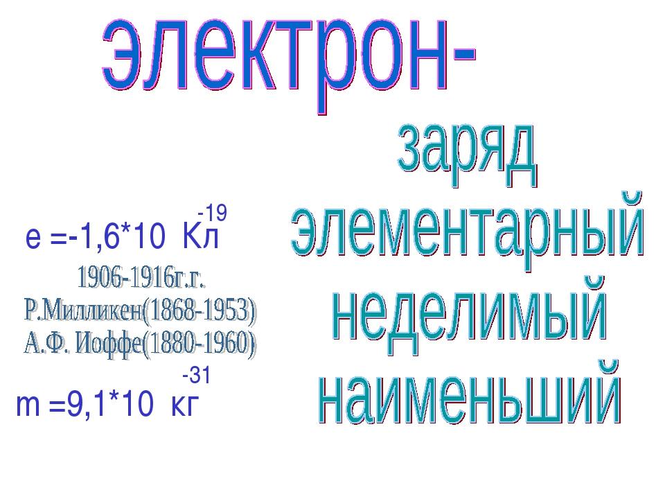е =-1,6*10 Кл -19 m =9,1*10 кг -31