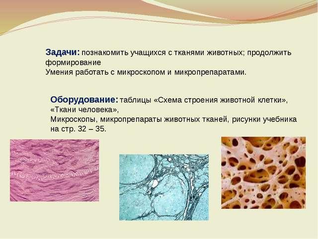 Задачи: познакомить учащихся с тканями животных; продолжить формирование Умен...