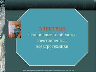 ЭЛЕКТРИК специалист в области электричества, электротехники Лазарева Лидия Ан