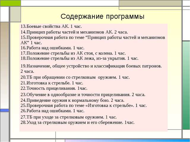 Содержание программы 13.Боевые свойства АК. 1 час. 14.Принцип работы частей и...