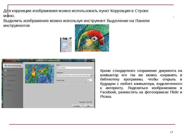 * Для коррекции изображения можно использовать пункт Коррекция в Строке меню....