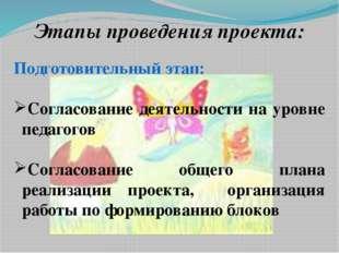 Этапы проведения проекта: Подготовительный этап: Согласование деятельности н