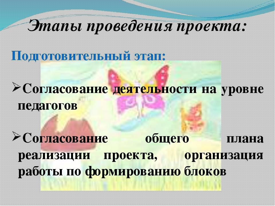 Этапы проведения проекта: Подготовительный этап: Согласование деятельности н...