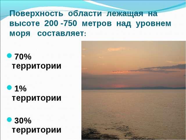 Поверхность области лежащая на высоте 200 -750 метров над уровнем моря состав...