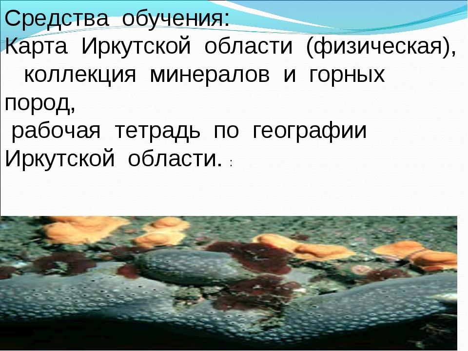 Средства обучения: Карта Иркутской области (физическая), коллекция минералов...
