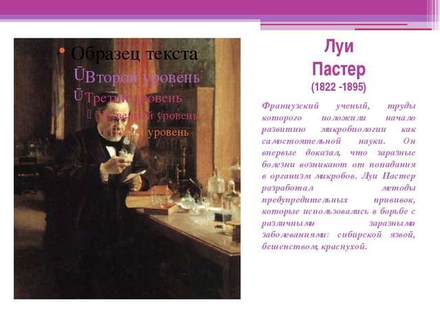 Луи Пастер (1822 -1895) Французский ученый, труды которого положили начало ра...