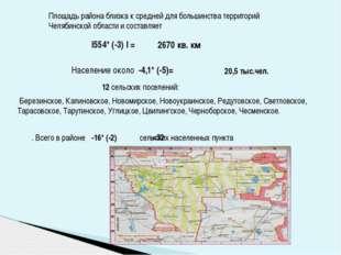 Площадь района близка к средней для большинства территорий Челябинской област