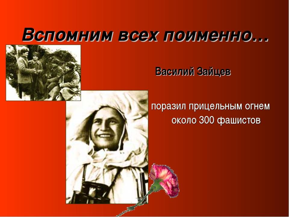 Вспомним всех поименно… Василий Зайцев поразил прицельным огнем около 300 фаш...