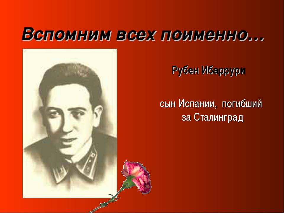 Вспомним всех поименно… Рубен Ибаррури сын Испании, погибший за Сталинград