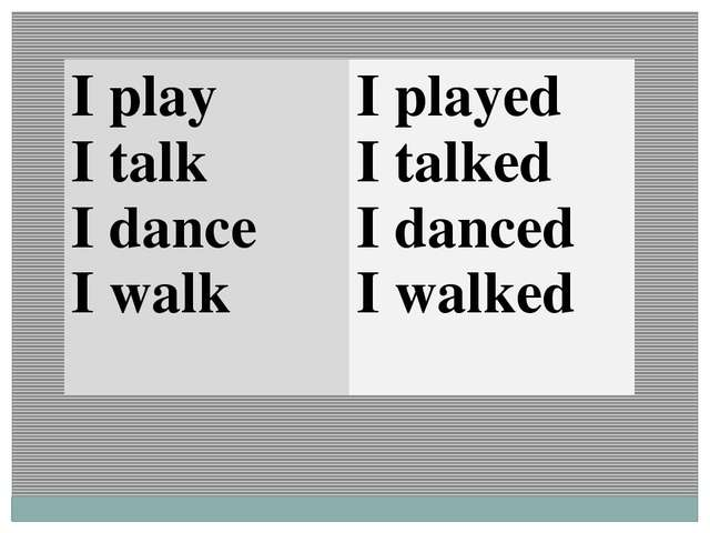 I play I talk I dance I walk I played I talked I danced I walked