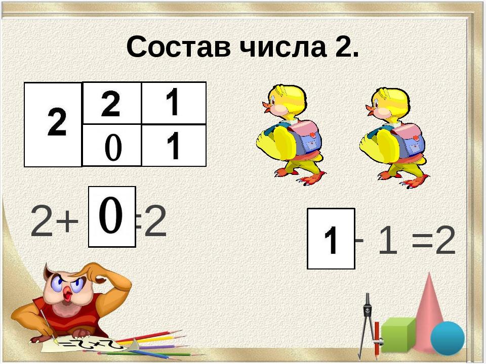 Состав числа 2. 2+ =2 1+ 1 =2