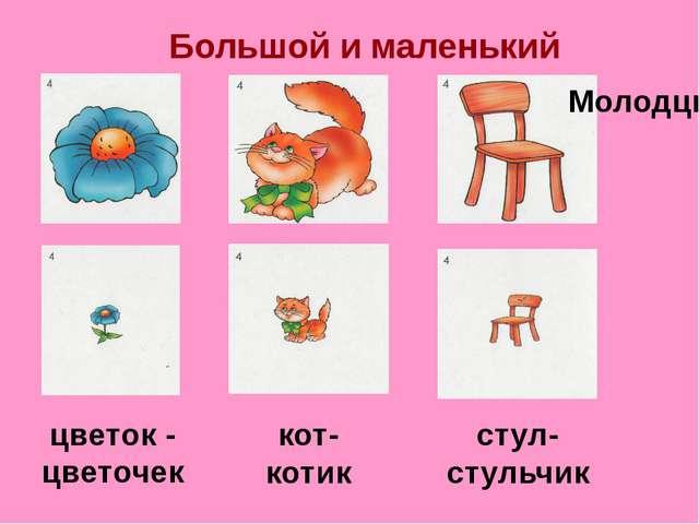 Большой и маленький цветок - цветочек кот- котик стул- стульчик Молодцы!