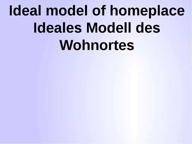 Ideal model of homeplace Ideales Modell des Wohnortes