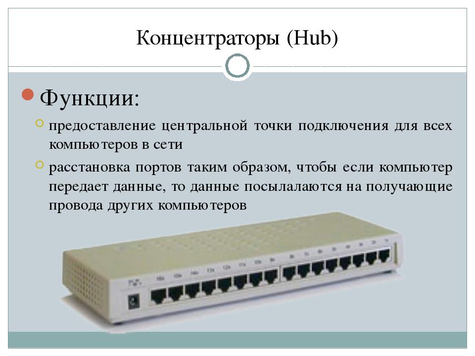 Концентраторы (Hub) Функции: предоставление центральной точки подключения для...