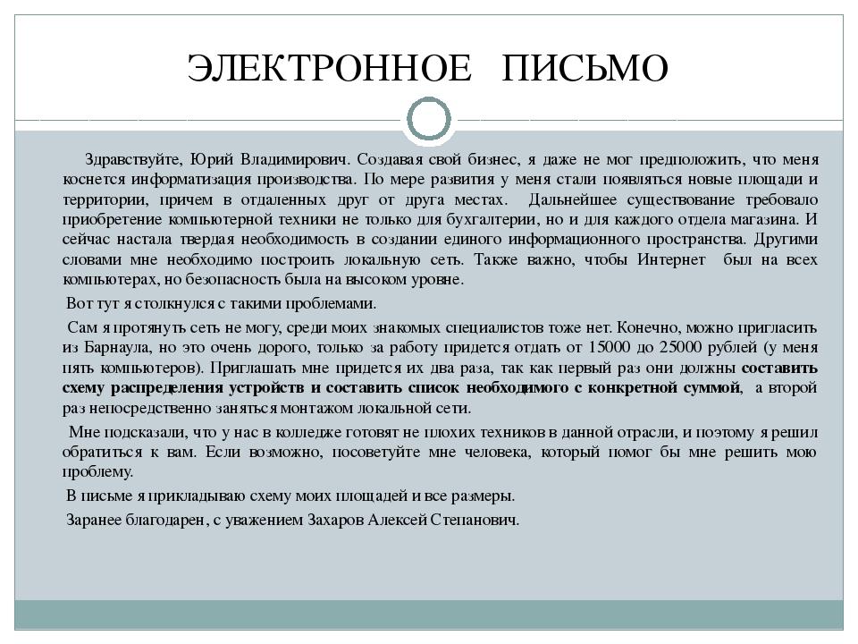 ЭЛЕКТРОННОЕ ПИСЬМО Здравствуйте, Юрий Владимирович. Создавая свой бизнес, я д...